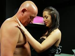 Sexy and lovely brunette hottie treats cock a hot and nasty blowjob