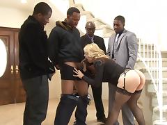Blonde babe Sarah Vandella receives a hot creampie after awesome gangbang scene