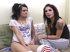 Tattooed lesbian with small tits enjoying an awesome vibrator fuck