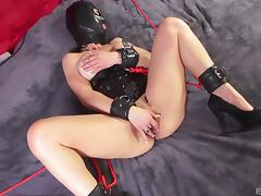 Kinky slave sucks on a dildo and gives her pussy for a hard screwing