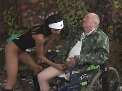 Brunette nurse fucked hard by her military patient