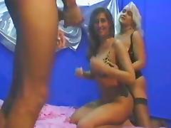 MFF erotic threesome in kinky bedroom scene