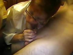 Granny Sucking His Big young Cock