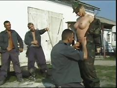 Military life is not hard for a gangbang loving blonde angel