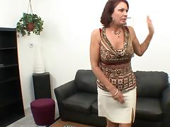Wild high-heeled cougar with a hairy pussy enjoying a hardcore missionary style fuck