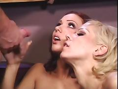 2 hotties catch the bartender & bang him hard
