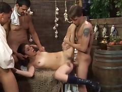 A bar wench gets banged by a few different guys at once
