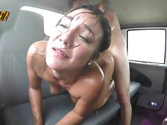 Wet bitch taking a hardcore fucking in the back seat
