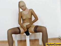 Redhead gives stirring footjobs to adult toy