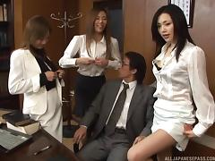 Lewd Japanese office mates get together for a steamy fuck fest