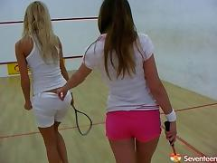 A friendly game of racquetball turns into some on court lesbian action