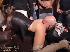 The best gangbang slut eat filled condom& fucked in boots