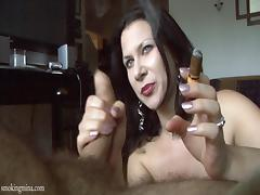 She got cigarette and cock to play with