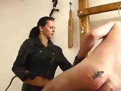 Nice Leather Mistress Caning Man Hard