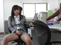 Her boss meets this Asian babe in the locker room and makes her cum