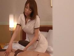 Salacious chic deliver a sensual massage to her hubby then sucks her cock dry