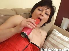 Old Lady Eva In Fishnet Stockings Hardcore Couch Fuck