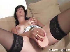 Dildo fucking with mature babe