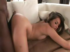Brunette blows big black cock and gets drilled hard by it