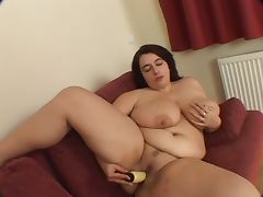 Busty BBW Warms up her wet pussy then gets some cock