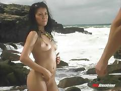 Exotic Brazilian woman gets fucked outdoors on the beach
