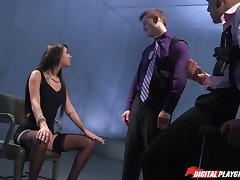 Cops give the slut in stockings a good hardcore fucking