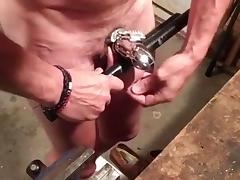 Whipping balls 200 times with leather belt