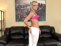Geeky cutie wears only her glasses while using her vibrator