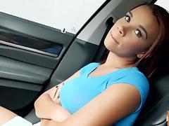 Raven Redmond gives a backseat blowjob