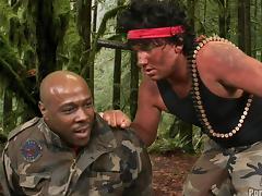 Parody military guys in uniform screwing ebony hardcore