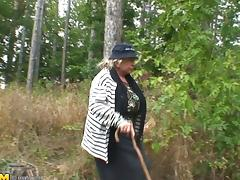 Running guy bangs a horny granny in the old forest by the village