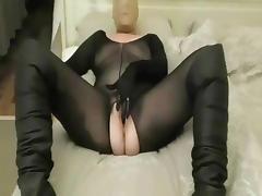 Black bodystocking with nylon mask