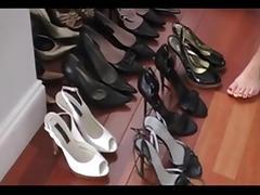 Footjob in the wardrobe