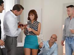 Gorgeous Tina Hot finally knows how it feels to be in a gangbang