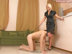 Classic femdom diva in high heels loving stepping on her slave mouth