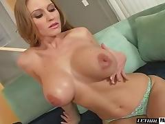 Blonde fingering her pussy then giving her guy blowjob