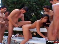 Lucy Lee attacked by an army of pussy craving fellows