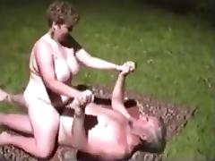 Grandparents fuck outside