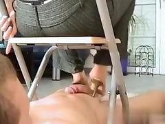 Fucked Her On Cheat-Date.Com - Footjob Under The Chair