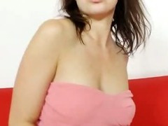 Emma Diamond pulls pantyhose out her pussy