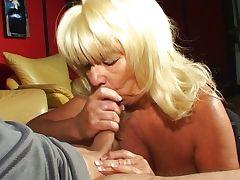 Horny blonde granny blowjob