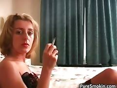 Exciting blonde foxy smoking a sigarette part5