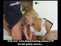 Wonderful lovely short hair blonde girl undressing