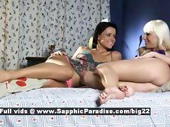 Lenna and Dara astonished lesbian babes licking
