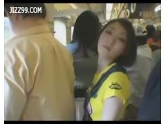 anthomaniac girl in train gives geek handjob