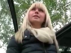 Big titted amateur blondie girl sucks and fucked in the backseat