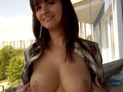 Lovely natural busty hottie pulled in public and fucked for the right prize