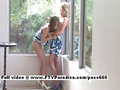 Sara and Rilee stunning lesbian babes kissing and licking