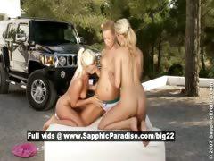 Katy and Deniska and Alana lesbo teen babes fingering
