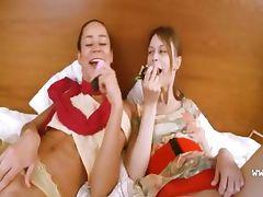 Two russian schoolmates enjoy threesome